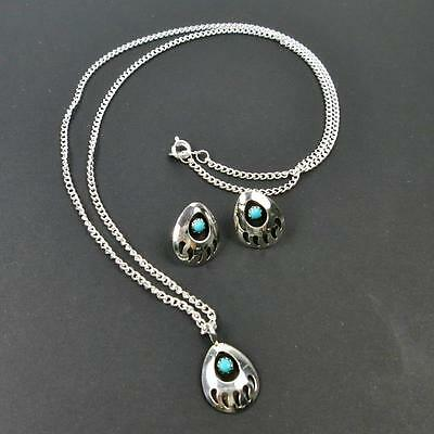 Native American Navajo Sterling Silver Turquoise Bear Paw Earrings Necklace Set