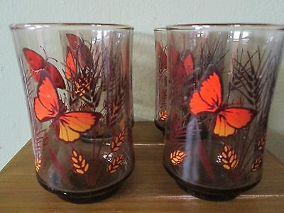 Set of 4 Libbey Brown Glass Orange Butterfly Wheat Oats 6 oz Juice Glasses MINT