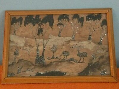 Aboriginal Traditional Arts, Hand Painted on Multi-layer Bark Board,  Vintage