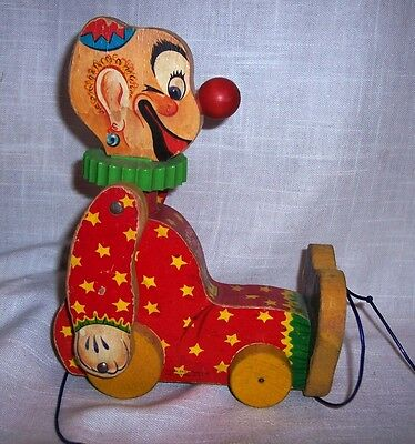 Vintage Fisher Price 1958 Squeaky The Clown Pull Toy #777