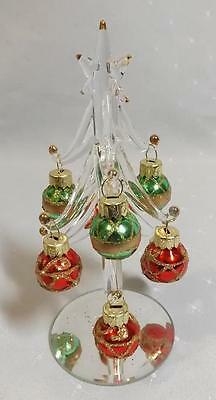 15cm Hand Blown Miniature Glass Christmas tree with multi color balls