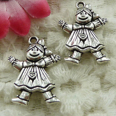 Free Ship 120 pieces Antique silver girl charms 24x17mm #1678