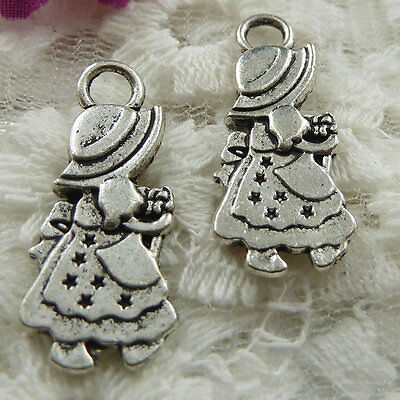 Free Ship 105 pieces Antique silver girl charms 28x12mm #477