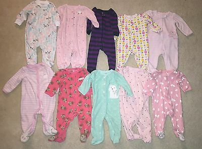 Baby Girl Winter Sleepers Pajamas Lot 10 Carters Leveret Warm Jammies 6 Mo Month