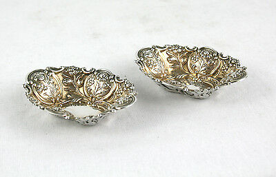 Antique Victorian Sterling Silver Gilt Small Bon Bon Nut Dishes Pair 1893