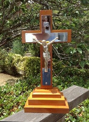 Large Wooden & Silver Cross Crucifix Jesus Religious Ornament Holy Chapel Prop