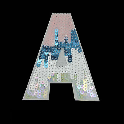 Embroidered Sew Iron on Patch Letter A Shining Sequin Cloth Applique Craft DIY