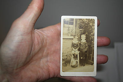 Carte Visite  Two Children With Curling  Stone
