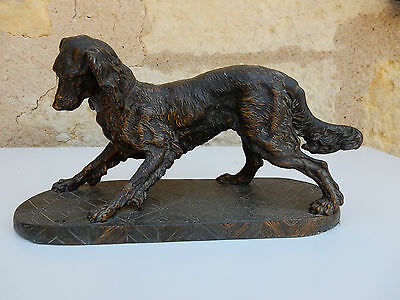 Spaniel Spelter Figure On Stand With Great Patina Bronze Effect Antique