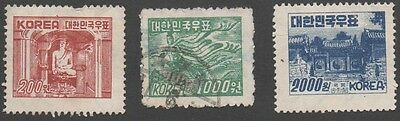 South Korea stamps.  1952 -1953 National Symbols. Cancelled