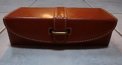 Vintage Case/Storage Box SUPER Indian Tan/Brown Leather with Brass Metal Closure