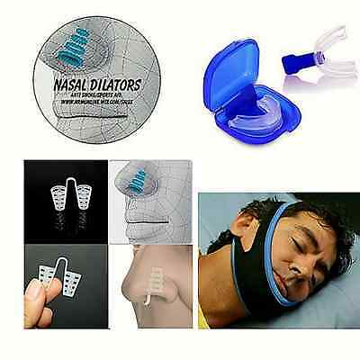 ANTI SNORE KIT 1 MOUTHPIECE 1 CHIN STRAP 4 x NOSE CONES  NHS FDA CE APPROVED...