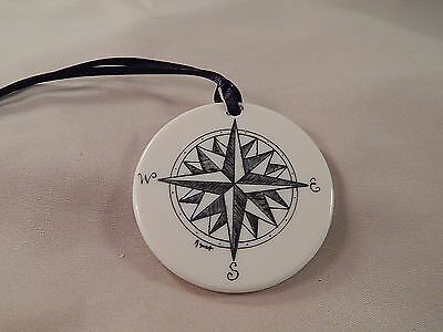 Scrimshaw Resin Christmas Ornament  - Compass Rose with Black Ribbon