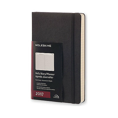 Moleskine 2017 Daily Diary Planner Large 5x 8.25 Black Hard Cover