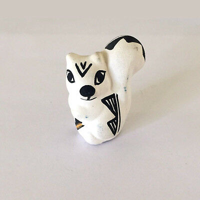 Squirrel Figurine Hand Painted Acoma Pueblo Pottery Signed S. Chino