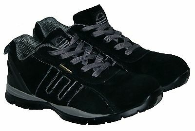 Mens Black/grey Lace Up Steel Toe Cap Safety Trainer In Size 11