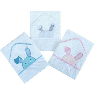 SUPER SOFT  BLUE Beautiful Embroidered Bunny Baby Hooded Towel - Bath Robe
