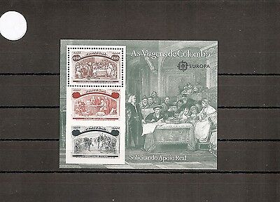 Portugal 1992 SG2292a 1st Sheet NHM Columbus Story-at Court of Ferdinand/Isabel