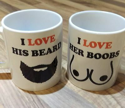 Valentines Day,Christmas Love, His and Hers Beard & Boobs Coffee,Tea Mug Set