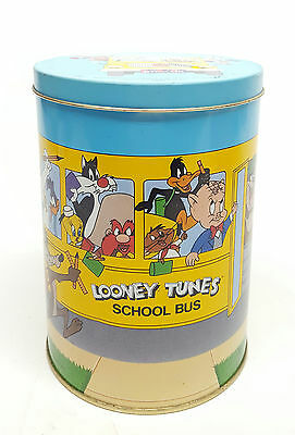 Vtg Brachs Advertising Tin Litho Looney Tunes School Bus Canister England