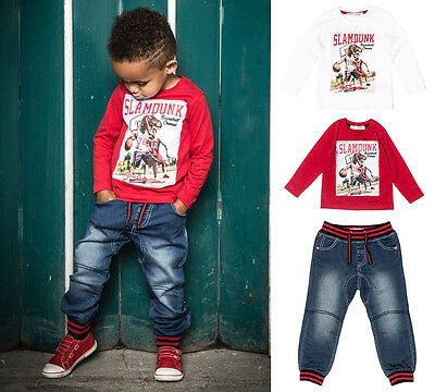 Baby Toddler Boys Jog Jeans & Long Sleeved Top Outfit (6 Months - 3 Yrs)