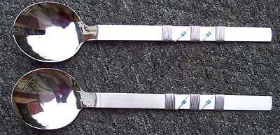 Salad servers in stainless steel with blue stones