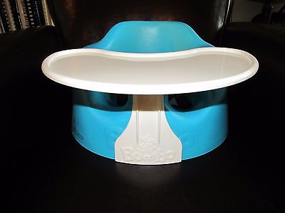 Bumbo Baby Floor Seat with Tray & Restraint Safety Strap Belt Blue ~NICE~