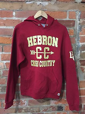 VINTAGE DARK RED HOODIE 90s USA SPORT PRINTED CROSS COUNTRY (h3) SIZE XS / SMALL