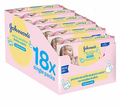 Johnson's Baby Extra Sensitive Fragrance Free Wipes Pack of 18 Total 1008 NEW...