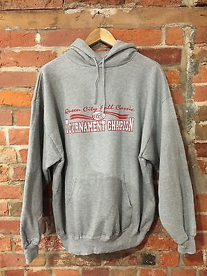 VINTAGE GREY MARL HOODIE USA SPORT PRINTED CHAMPIONS RED 90's (h4) SIZE XL