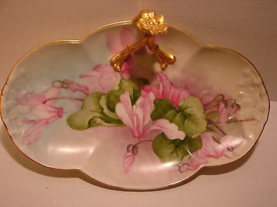 """11""""  Ornate Antique Gold Handle & Edge Hand Painted Flowers LIMOGES Serving Dish"""