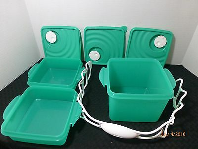 New TUPPERWARE Crystalwave Microwave Square Goody Box Lunch Set Carrying Handle