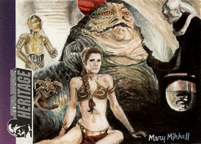 Topps Star Wars Heritage Slave Leia Carrie Fisher Mary Mitchell Sketch Card