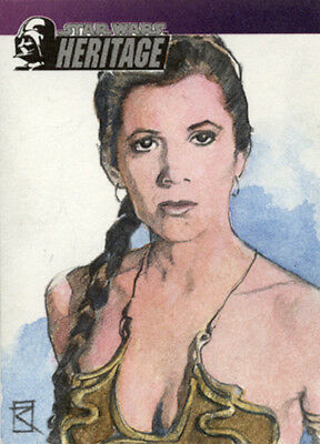 Topps Star Wars Heritage Slave Leia Carrie Fisher Russell Walks Sketch Card