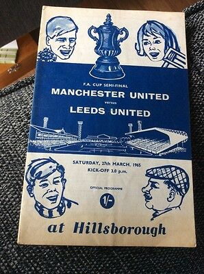 Manchester United v Leeds United 1965 FA Cup Semi Final Programme