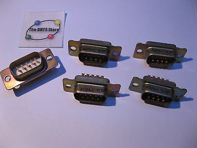 D-Sub 9 Pin Male Solder-Cup Connector ADI ADIN-1S-9P - NOS Qty 5