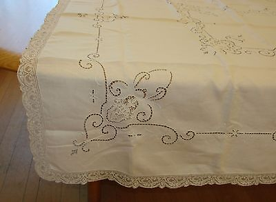 Antique Needle Lace Banquet Tablecloth, Linen Embroidery, Cutwork Filet Net Trim