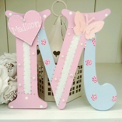 Shabby personalised girls handpainted roses wooden letter/name sign chic