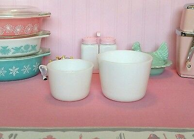 """McKee white refrigerator canisters 6"""" & 5"""" vintage"""