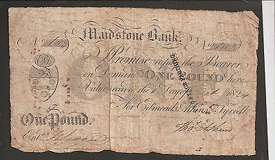 England, Kent, Maidstone Bank, £1 note issued in 1824