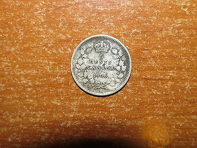 Canada 1906 silver 5 Cents coin Very Good nice