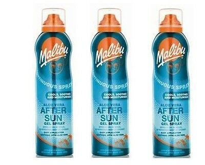 3 X Malibu Continuous Spray Aloe Vera After Sun Gel 175ml