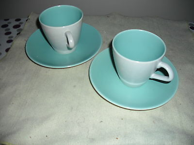 Poole pottery twin tone ice green and seagull colour (c57) two cups and saucers