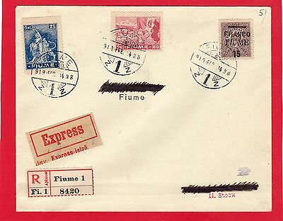 FIUME-ITALY-ITALIA-1919 EXP.COVER FRANKED WITH 15c-25c-60c STAMPS NICE COVER