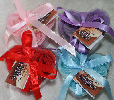 Bath Confetti - 3 Roses in a Heart Shaped Gift - 4 Fab Colours