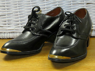 80s Mens Size 9 Black Leather High Heel Metal Tip Gibson Derby Shoes DISCO