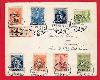 Fiume-Italy-Italia-1919 Reg.cover Franked With 8 Values Stamps Nice Cover