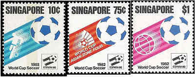 Singapore 1982 stamps. 1982 Football World Cup - Spain.Set of 3 stamps. MNH