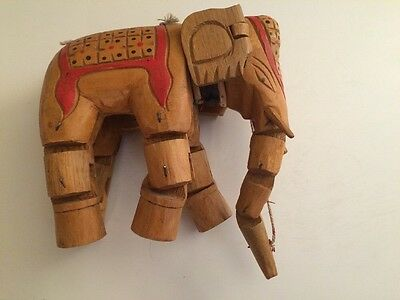 India,Indian Wood Wooden ELEPHANT,Hand Carved,MARIONETTE,PUPPET,Large