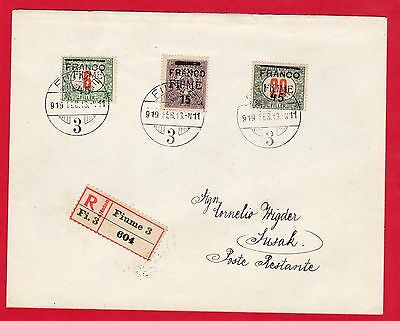 Fiume-Italy-Italia-1919 Reg.cover Franked With 1919 Sets Nice Cover